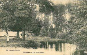 Chichée - vue sur le Serein - carte postale 1900 - Brocante de la Pointe Minard - vallée du Serein
