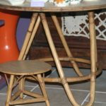 table basse en rotin vintage et tabouret tam tam Brocante du Prieuré