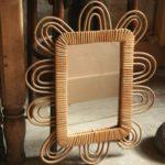 miroir en rotin vintage à la Brocante du Prieuré à Chichée près de Chablis