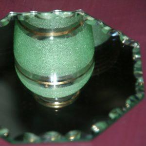 vase en verre granité et miroir à poser à la Brocante de la Pointe Minard à Plouézec, près de Paimpol