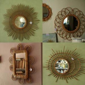 miroirs rotin osier vintage miroir ORTF miroir fleur miroir soleil à la Brocante de la Pointe Minard à Chichée près de Chablis