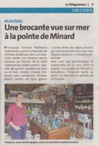 Le Télégramme juillet 2020 Brocante de la Pointe Minard à Plouézec, près de Paimpol